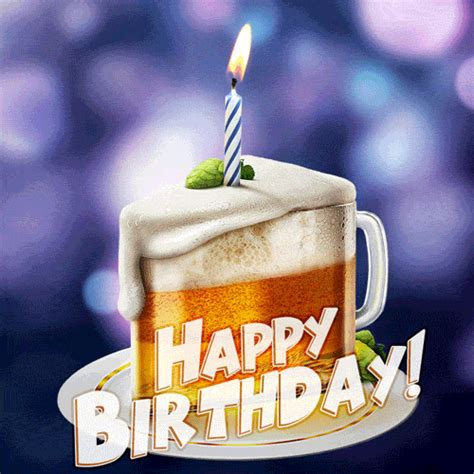 funny animated happy birthday gif   beer cake
