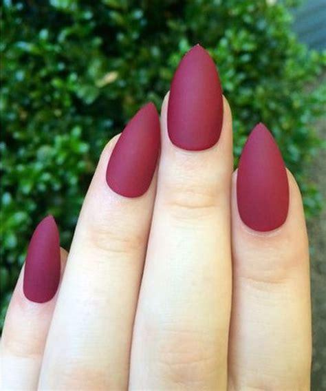 love  elegant matte maroon stiletto nails