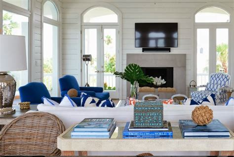 lovely blues and whites Beach house living room Coastal