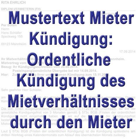 Ordentliche Kündigung Mieter by Mustertext Ordentliche K 252 Ndigung Durch Mieter Gem 228 223 167 542 Bgb