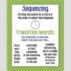 Sequencing Anchor Chart, 16x20 By Janelle  Teaching  Sequencing Anchor Chart, Transition Words