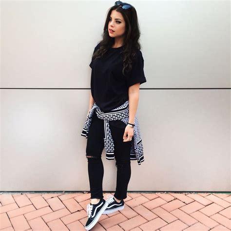 Black and White outfit with Iuter sweater Hu0026M black denim Vans old skool Instagram @myway ...