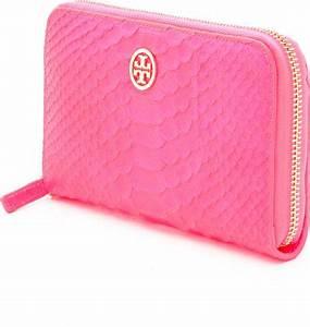 Tory Burch Neon Snake Zip Continental Wallet in Pink