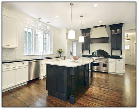 Casters For Kitchen Island Antique White Kitchen Cabinets With Black Island Home Design Ideas