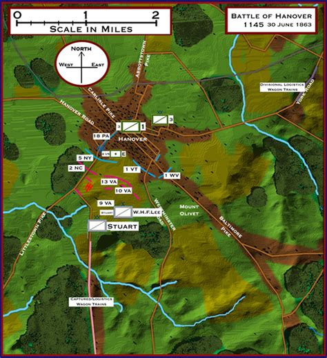 gettysburg map  battle  hanover pennsylvania