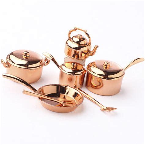 miniature copper pots  pans kitchenware set whats  dollhouse miniatures doll