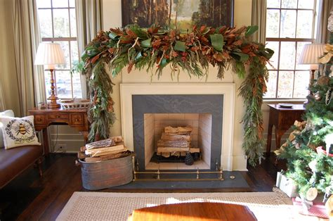 christmas mantels christmas mantel decorated with natural greenery in southern living idea house