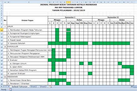 jadwal program kerja tahunan kepala sdmi smpmts smama
