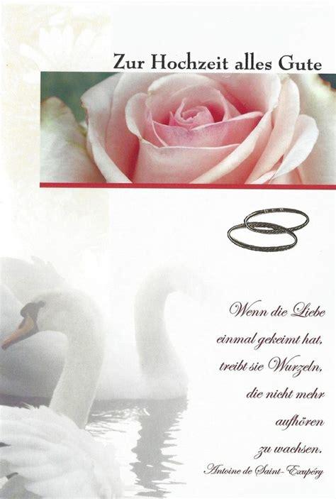 glueckwuensche zur hochzeit spruch schwaene rosen eheringe