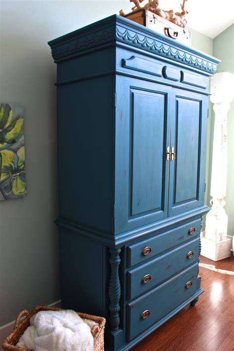 Painted Armoire Furniture Chalk Painted Armoire Makeover Aubusson Blue 2 Bees In