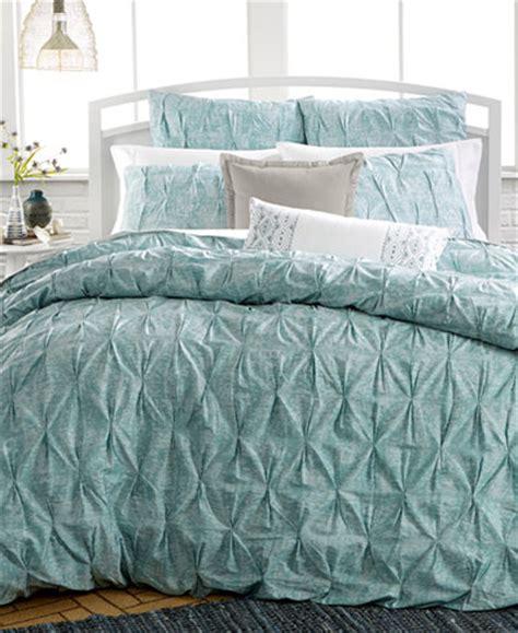 macys duvet covers bar iii pleat mineral blue duvet cover