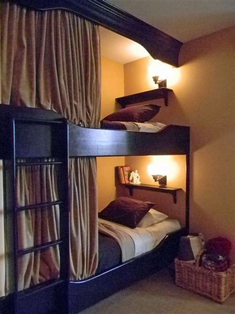 normal bunk bed add molding to ceiling and curtains