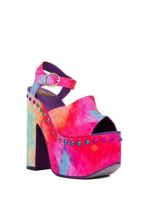 yru daydream studded rainbow platform heels multicolor