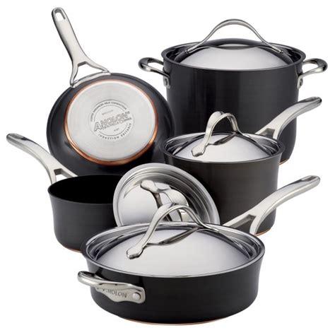 anolon nouvelle grey copper hard anodized nonstick cookware set  piece set