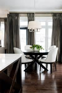 taupe silk curtains contemporary dining room