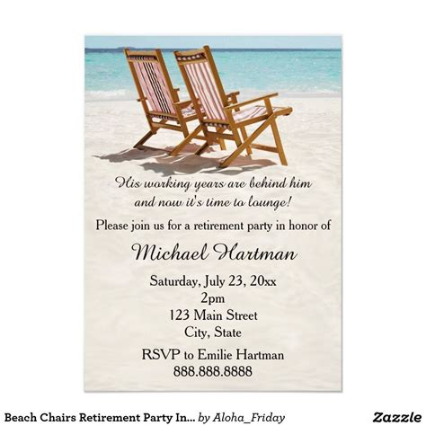 beach chairs retirement party invitations zazzlecom