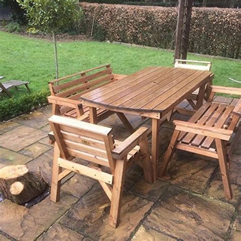 Outside Table Chairs by Solid Wooden Garden Furniture Set 6 Table 6 Chairs
