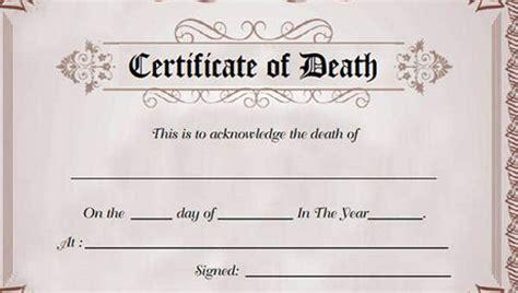 death certificate template  sample