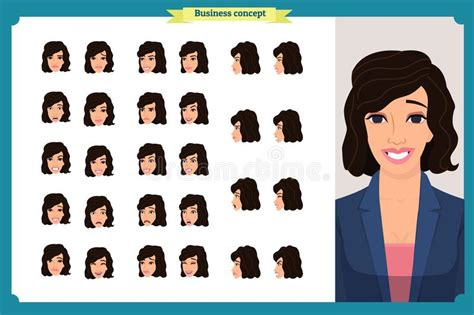 These are the best svg animation tutorials i have came. Set Of Woman`s Emotions Design. Facial Expression.Front ...