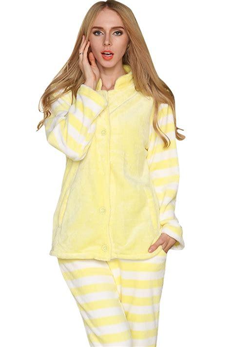 Womens Pretty Flannel Striped Long Sleeve Pajamas Yellow