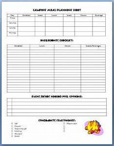 camping meal planner on pinterest camping food healthy With camping menu planner template