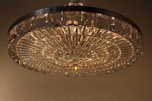 Large crystal flush mount chandelier at stdibs