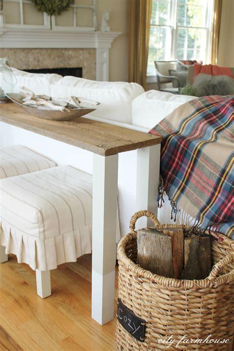 Diy Wood Sofa by The Easiest Diy Reclaimed Wood Sofa Table City Farmhouse