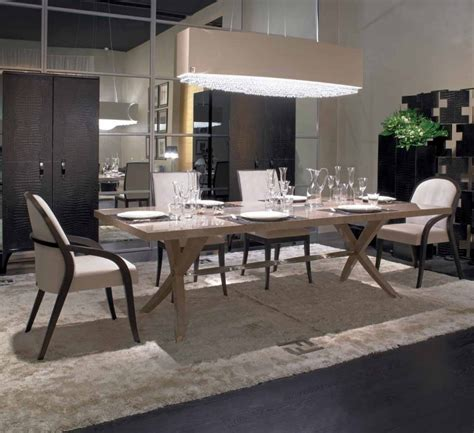 brunello dining table  rectangular wooden top fendi