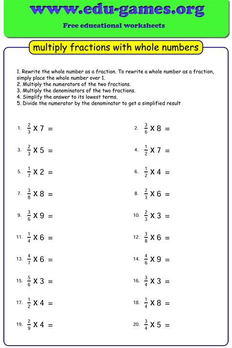 multiplying fractions   numbers worksheets
