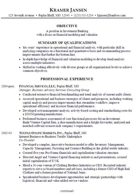 sample resume   seeking  job  investment
