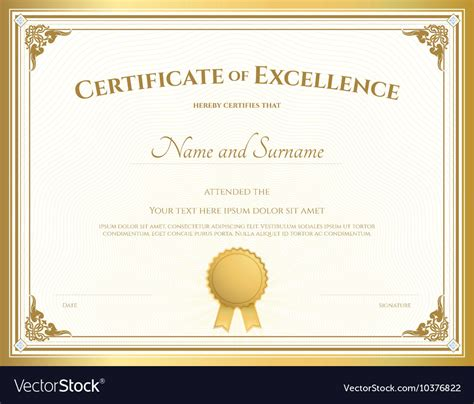 certificate  excellence template gold theme vector image