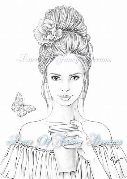 Coloring Pages Adult Woman Sheet Printable Pretty