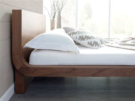 roma natural walnut contemporary bed modern bedroom