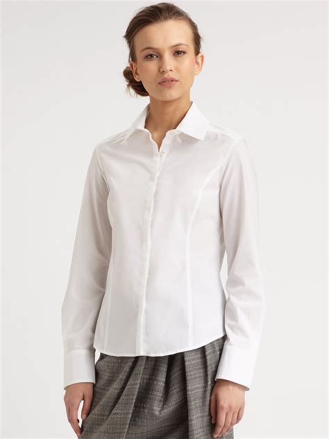 stretchable blouse weekend by maxmara stretch cotton blouse in white lyst