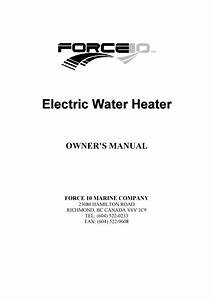 Force 10 Water Heater Manual