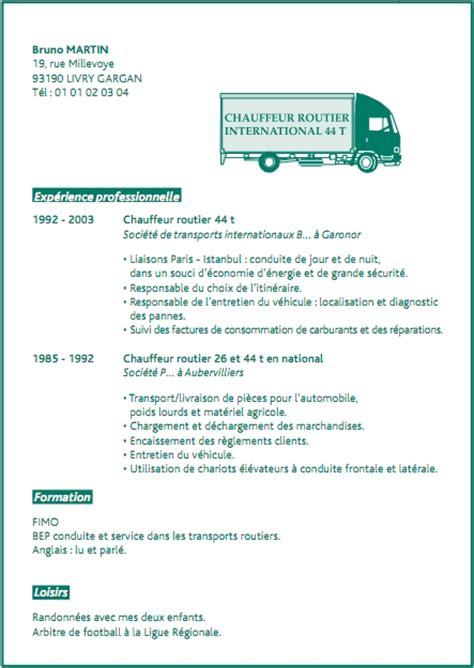 modele de lettre de motivation chauffeur routier exemple de cv conducteur routier