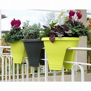 Bac A Fleur Balcon : pot de fleurs vert anis jardin et saisons ~ Teatrodelosmanantiales.com Idées de Décoration