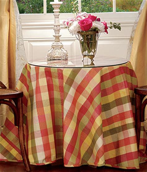 table linens moire plaid table
