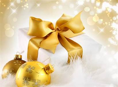 Christmas Gift Balls Gold Background Wallpapers Ornaments