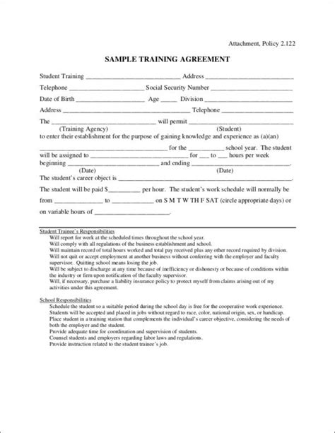 training contract samples templates  samples