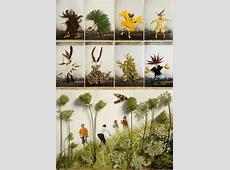 Herbstcollage mit Kindern basteln aus Naturmaterialien