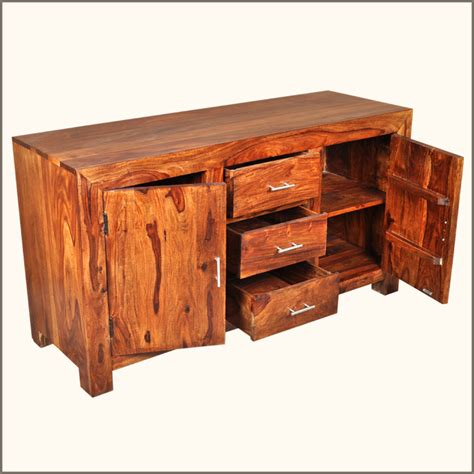 Solid Wood Rustic 3 Storage Drawer Cabinet Buffet Credenza