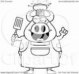 Drunk Chef Clipart Cow Pig Lineart Spatula Cartoon Vector Holding Illustration Royalty Thoman Cory 2021 Clipartof sketch template