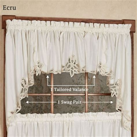 Battenburg Lace Curtains Ecru by Battenburg Lace Edge Tier Window Treatment