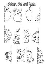 images  healthy food cut  paste worksheets