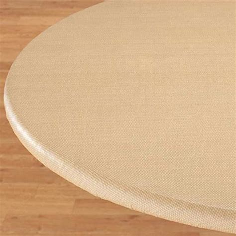acrylic table top cover basketweave elastic table cover oblong beige plastic top