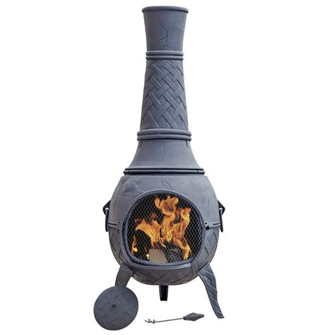 Metal Chimineas For Sale by La Hacienda Cast Iron Mega Chiminea Robert Dyas