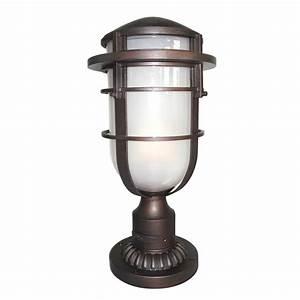 Reef outdoor pedestal in a bronze finish with etched glass for Captured glass floor lamp