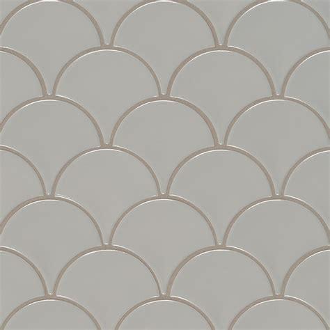 mosaic kitchen tile backsplash gray glossy fish scale mosaic
