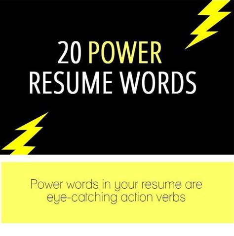 20 resume power words infographic person you work for